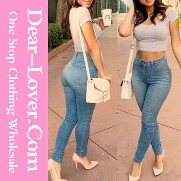 2015 Light Blue Classic High Waist Skinny Women Jeans wholesale china