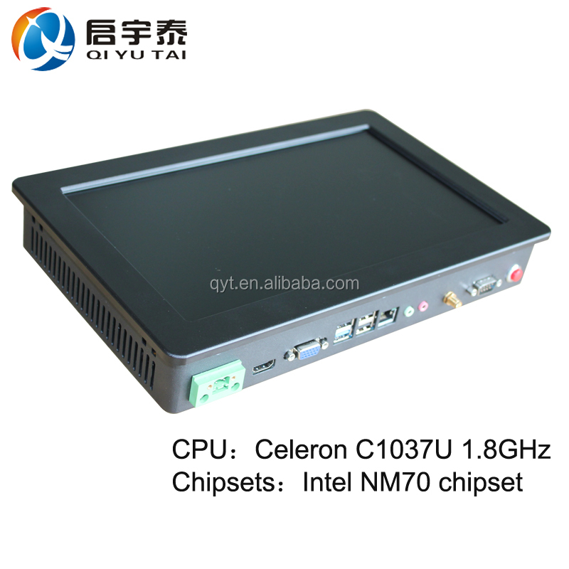 "QYT Industrial fanless computer 11.6"" touchscreen pc rugged embedded pc with Celeron C1037U 1.8GHz"