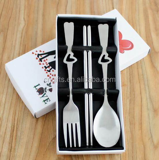 Ywbeyond Wedding Take Away Gift tableware 3 in1Heart Love fork Spoon and chopsticks Lover Wedding Souvenirs Philippines