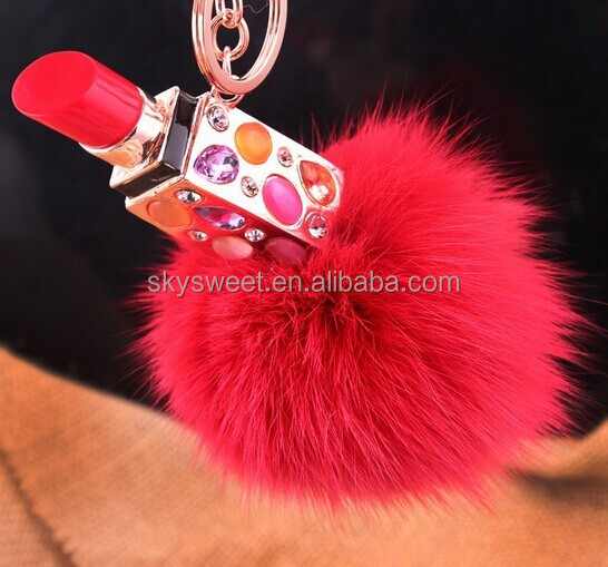 Cosmetics Promotional Plush Key chain Keychain, Lipstick Metal Keychain