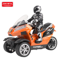 Zhorya plastic kids electric rechargeable rc small three wheel off road drifting toy motorcycle with 2.4G inductive controller