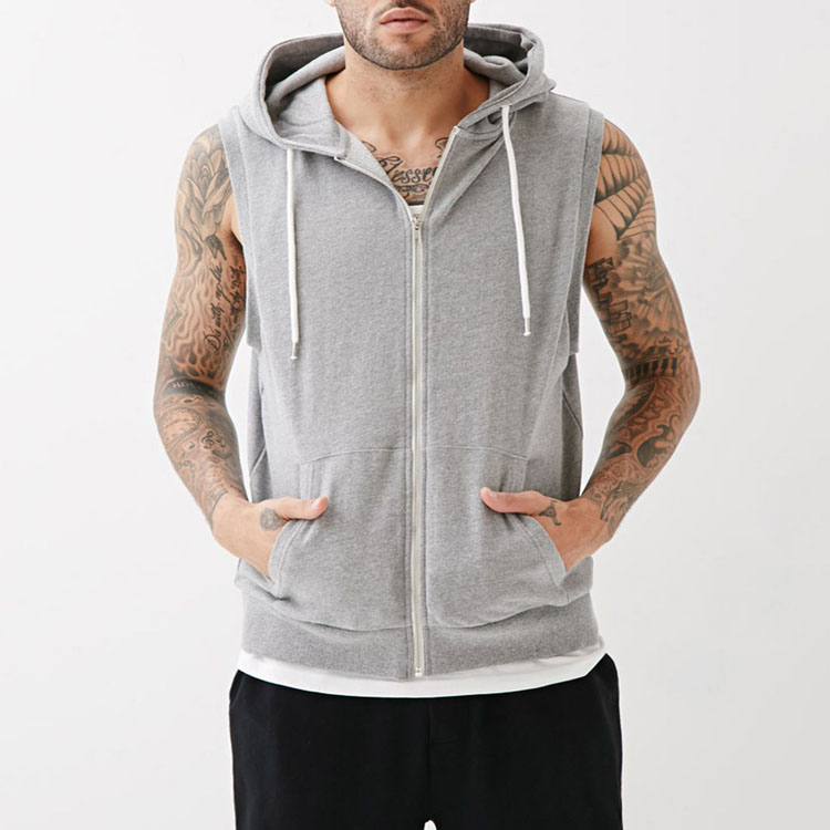 Online Shopping Men Plain Loungewear Sleeveless Zip Up Hoodie With Sweat Shorts Gray