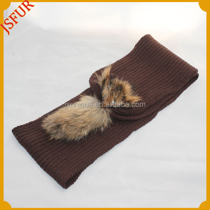 Newly design 2014 Winter knitted match real fur pom pom hat and wool knitted raccoon fur scarf