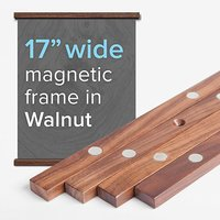 Magnetic Poster Frame Hanger in Oak Solid Wood and Magnets Strong Enough to Hang ANY Length and Size