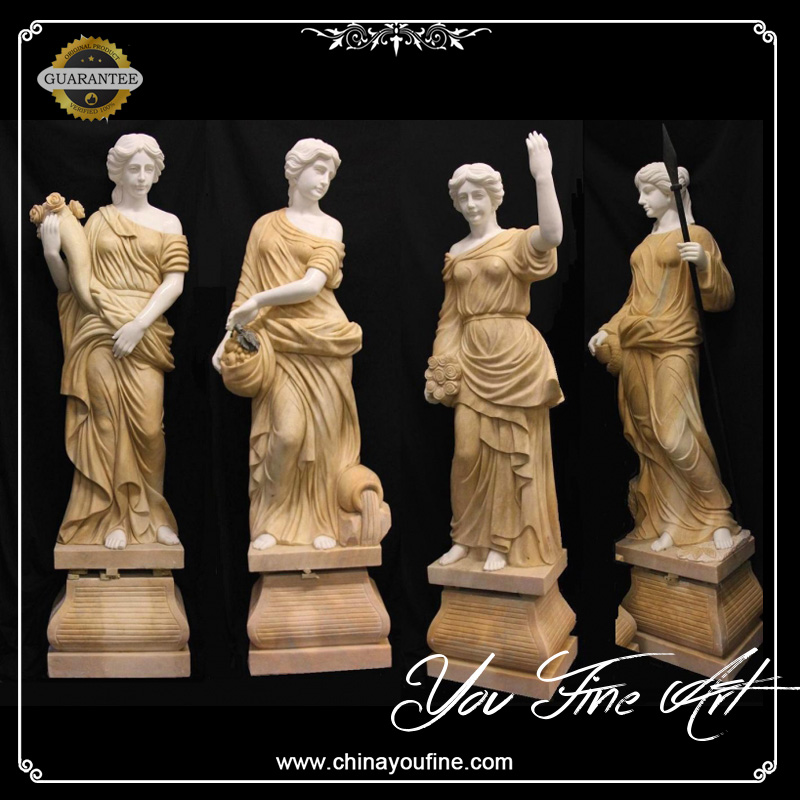 Yellow Marble Stone Four Seasons Goddess Statues