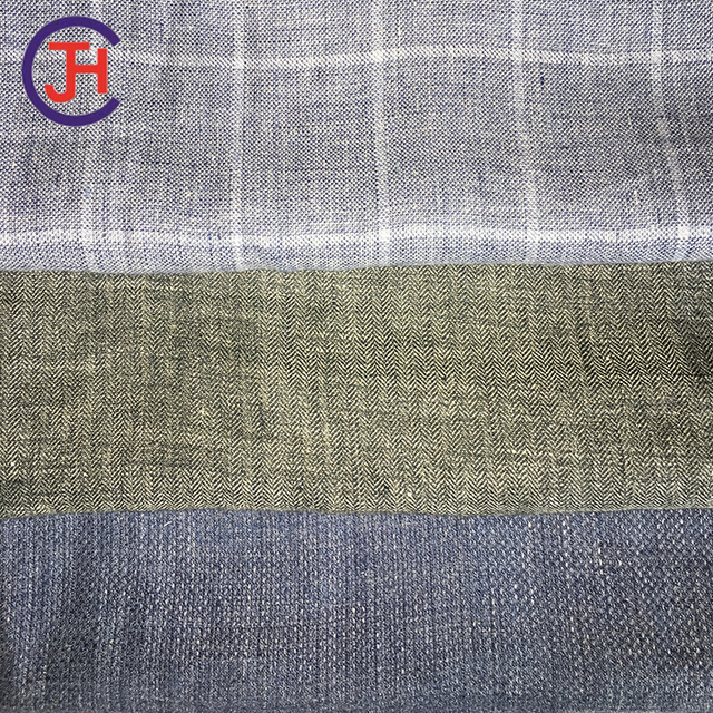 Factory supply linen blended yarn dyed fabric with best price