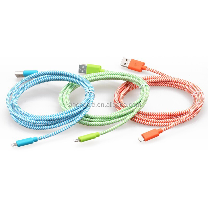 MFi certified multi color braided smart phone cables