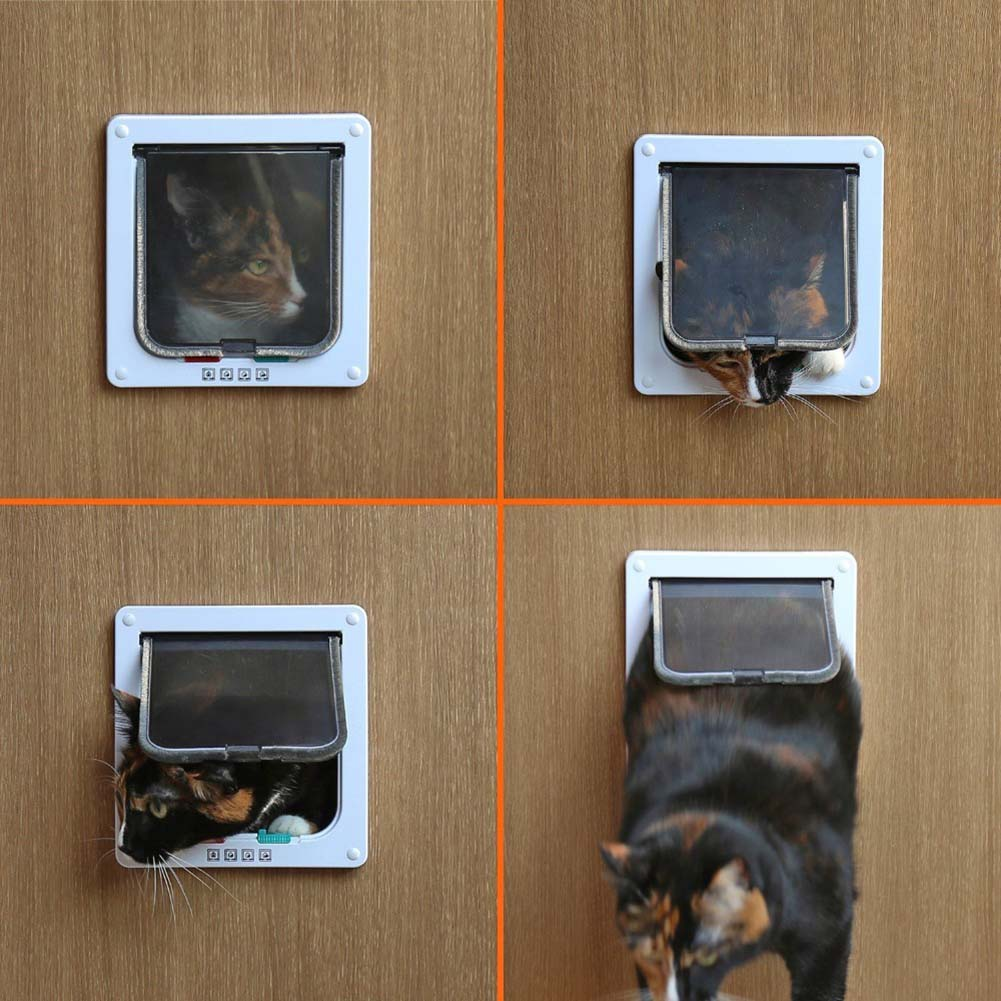 New Acrylic Pet Cat door for big cats and Small dogs with Four Way Locking System And Telescopic Frame