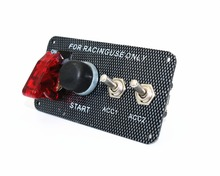 Switch Panel DC12V LED Carbon Fibre Toggle Engine Start Push Button 12V Power Toggle Switch for Car Truck Racing