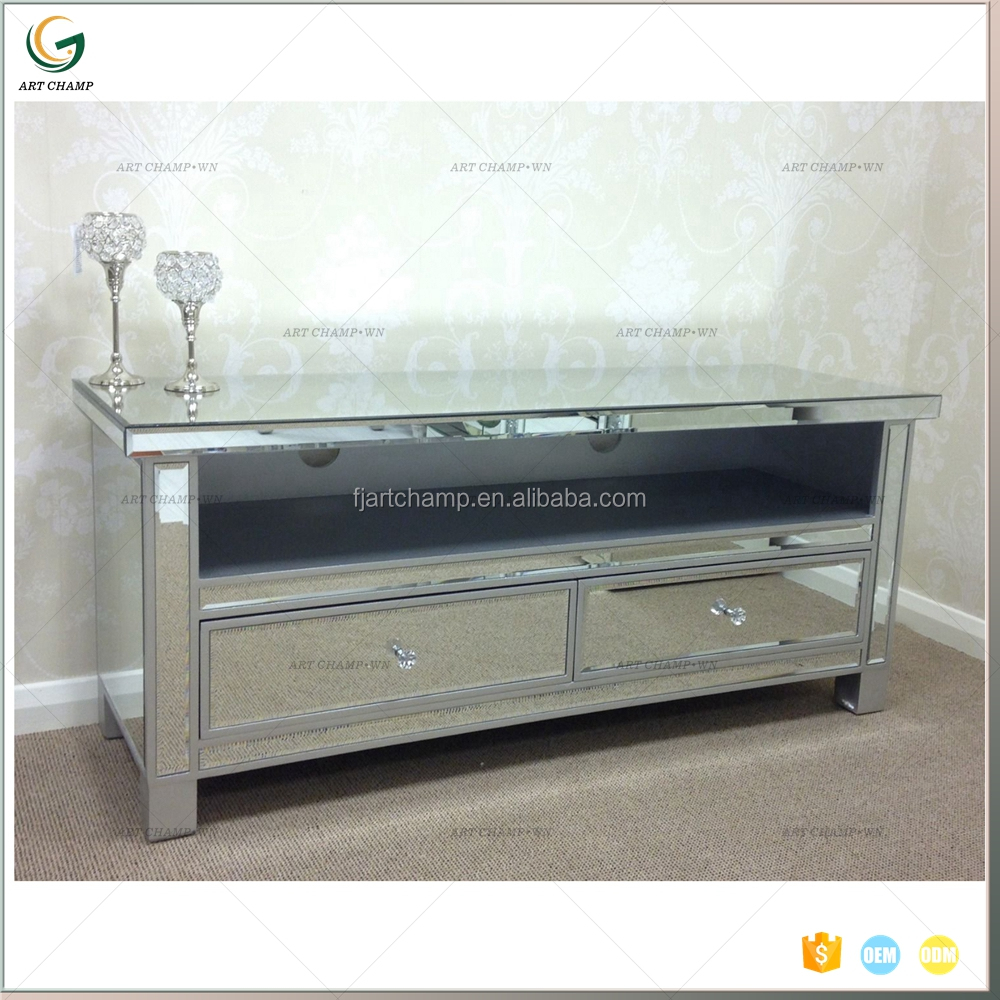 Hot Sale 2 Drawer Mirror Glass Display Cabinet Pictures Of Tv Cabinet