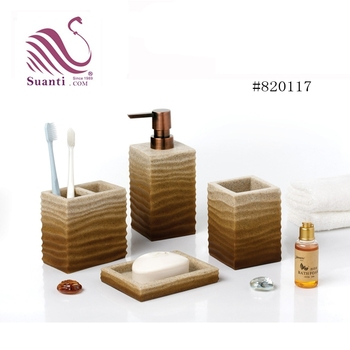 Factory Price Brown Polyresin Bathroom Accessories Set  Bath Set with Soap Dish
