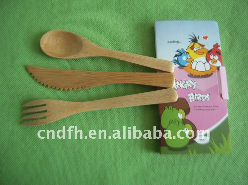 Green Bamboo knife fork and spoon(A1)