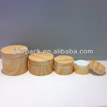 Elegant recycled wood grain Round plastic acrylic cosmetic jars