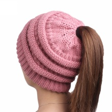 fashion 2017 funny winter bulk ski beanie hat With Ponytail Hole Hat custom