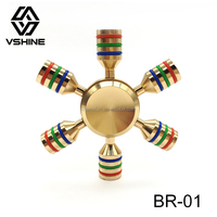 Cheap Spinner Metal Finger Toy Anti Stress 6 Sides Brass fidget spiner alloy toys high quality 6 Wings fidget spinner