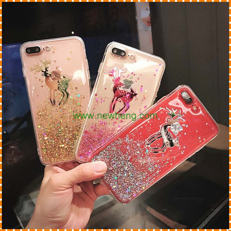 Newest Glitter glue fawn Transparent soft tpu moblie phone case for Iphone 7