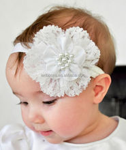 Beautiful White Floral Elastic Headbands for Baby Girls