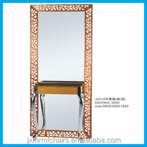 light up salon mirror station stainless steel mirror station for cheap sale JX315A