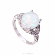 Elegant White Fire Opal Silver Jewelry Wedding Engagement Ring