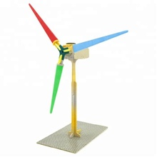 Wooden Solar Windmill Toys Children Educational Puzzle Toys