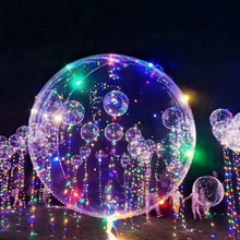 20inch Luminous Led Balloon Transparent Round Bubble Decoration Party <strong>Wedding</strong> 2017 Halloween Christmas decor glowing Balloon