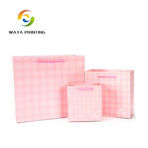2017 Top selling products durable luxury pink printed paper bag cord handle