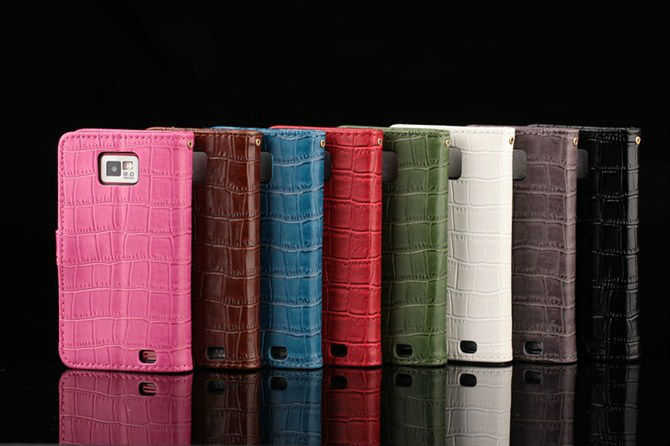 8Color Alligator case cover for Samsung galaxy s2 sii i9100 Crocodile 100% Leather skin wallet case