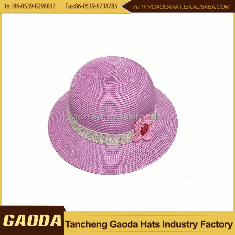 2016 china wholesale FASHION Pink PP braid Children Mash Hats for girl with flower