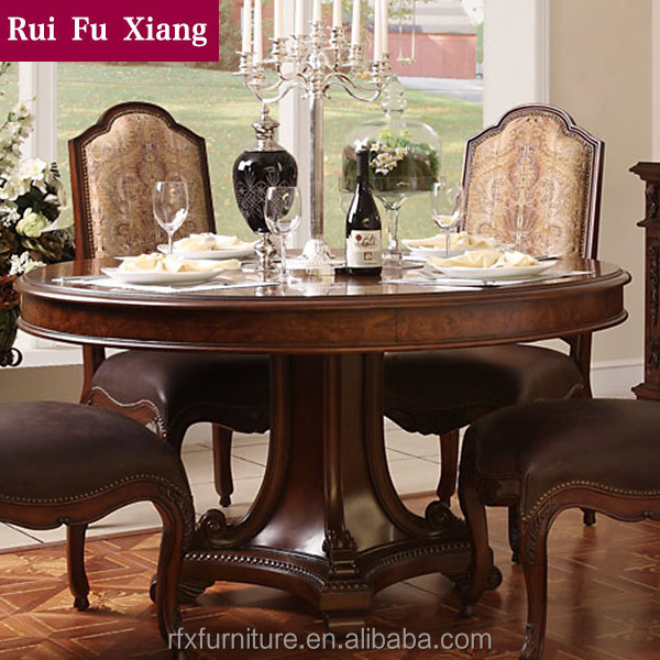 rubber wood round dining table with leather and fabric