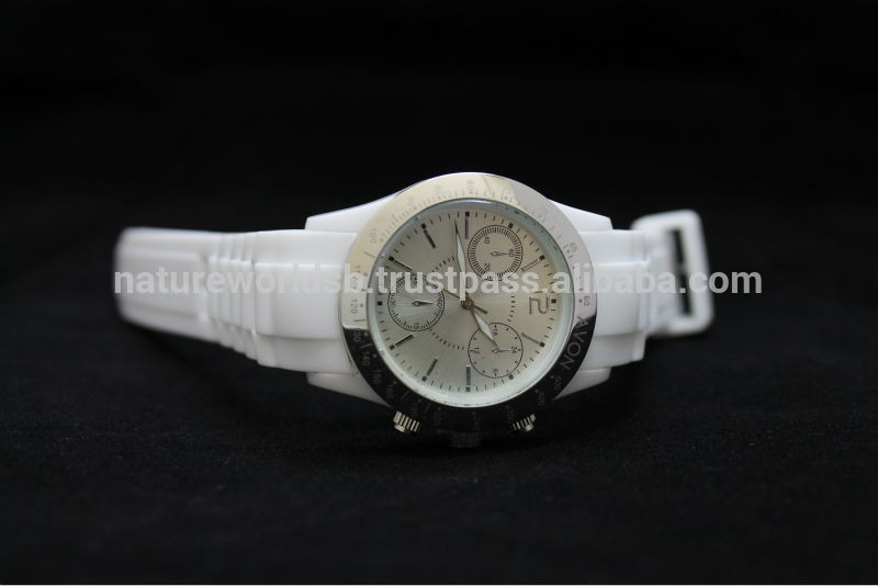 Silver and White Silicone Chronograph Dial Sport Watch