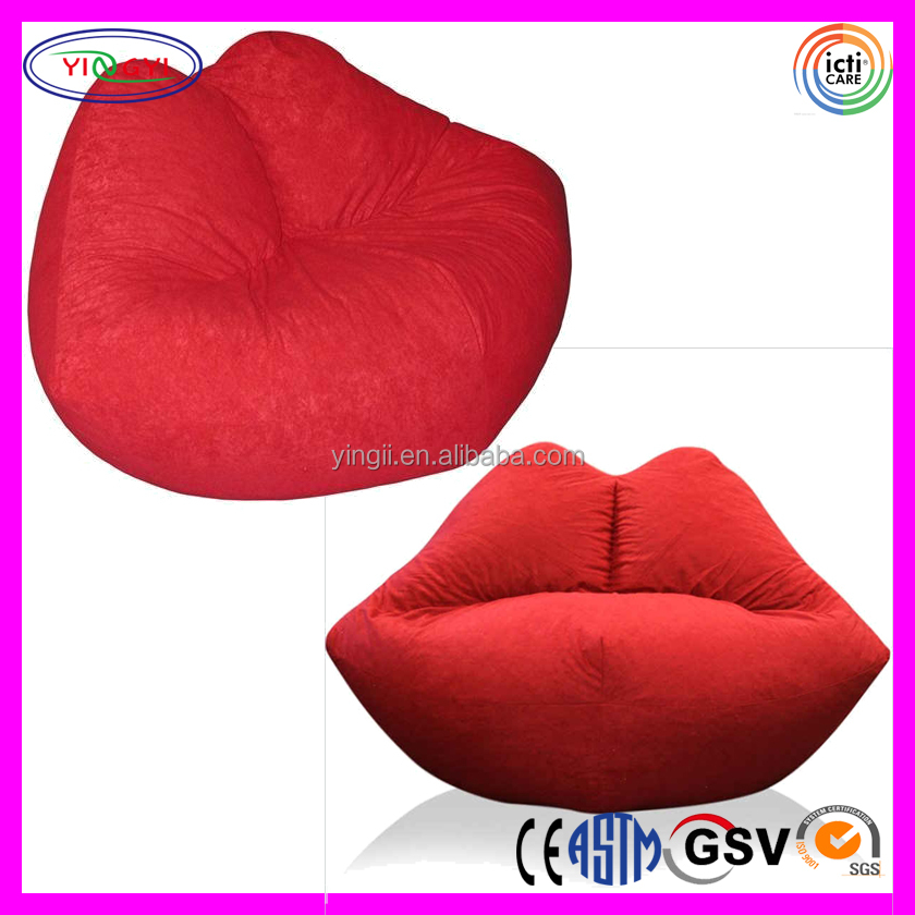 A086 Soft Living Room Chair Lip Shape Stuffed PE Foam Bean Bag Chair