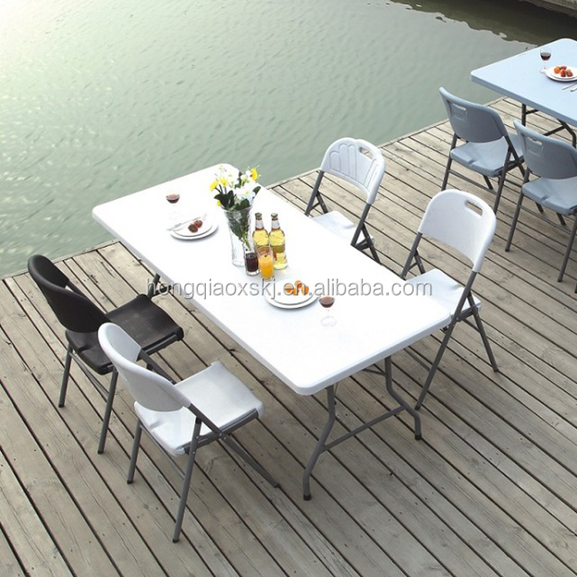 light weight 6ft 183cm white resin trestle table portable for BBQ GRILL