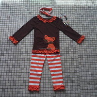 cartoon animal fox appliqued shirts matching ruffle pants child girl fall boutique