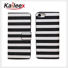 For iPhone 5 5s Stripe Line Wallet Leather Case