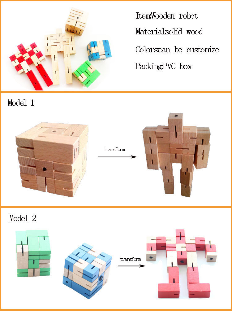 Handling intellectual making wooden puzzle gifts wooden robots man