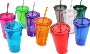 reused plastic 450ML water cup with lid and straw