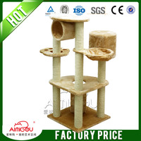 High quality deluxe cat tree with outdoor wooden tree house for cat scratching post