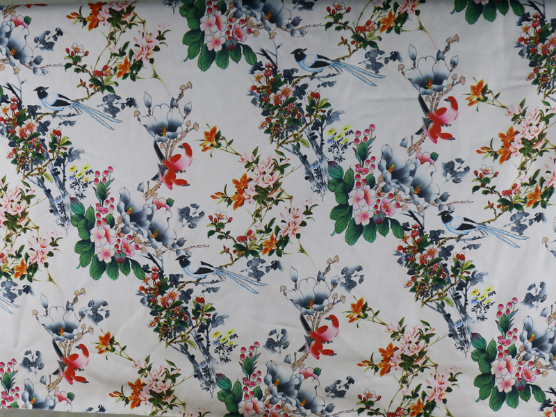 Japanese Women Satin Kimono Robe Cloth Floral Digital Print Satin Fabric