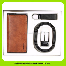 17120 fashionable leather gift set for man with 1 wallet,1 key chain,1 belt