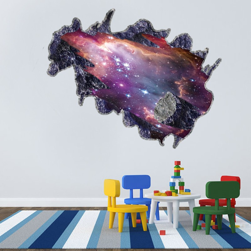 ALFOREVER removable PVC 3D broken sky miracle of the universe wall decals