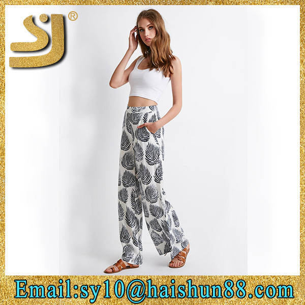 2015 fashion spring summer linen cotton trousers, summer beach palazzo pants for women