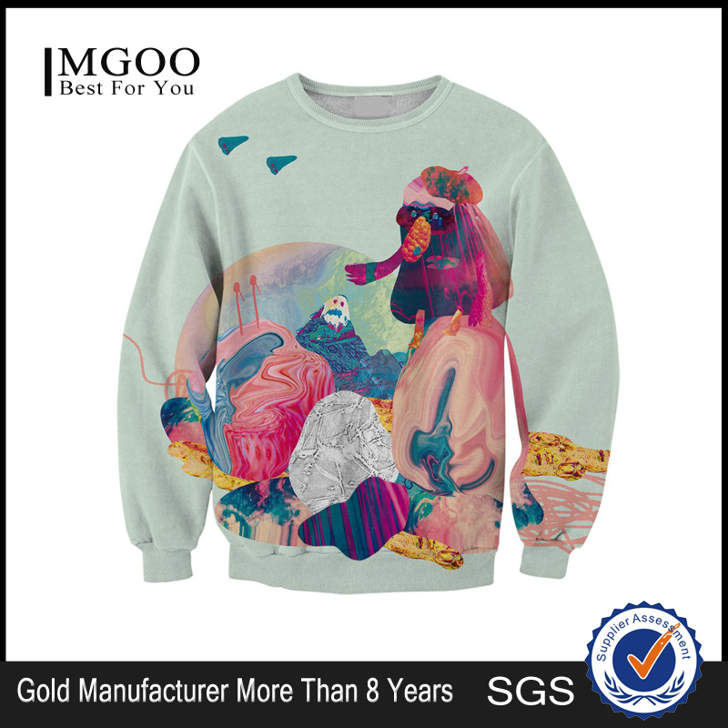 MGOO Factory Fleece Men Pullover 100 Cotton Sweatshirts Digital Sublimation print Tops