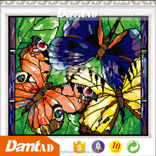 China factory high resolution custom stretched canvas butterfly flowers canvas oil painting