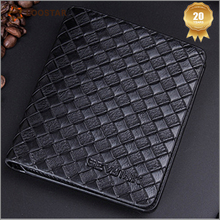 AQU015 Factory Leather Clutch Purse Stocklot Men's <strong>Wallet</strong> Weaving Fashion Money Clip