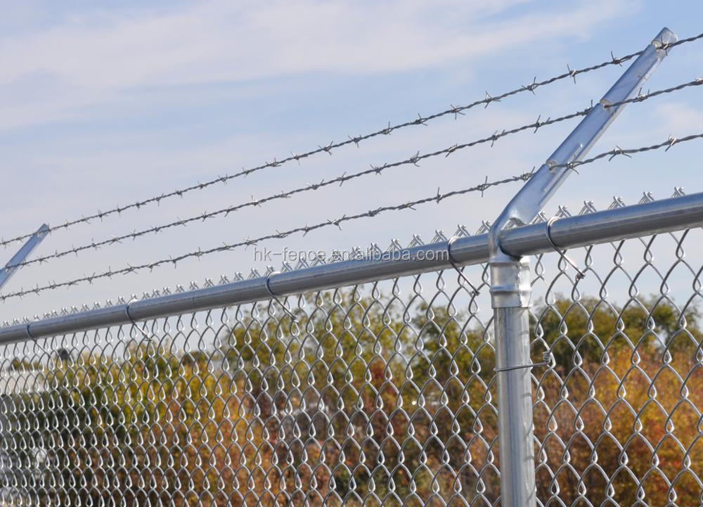 galvanized chain link fence with barbed wire