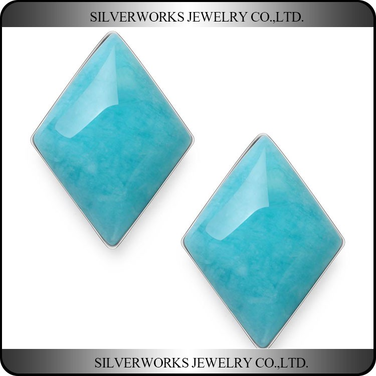 Elegant 925 Sterling Silver Rhombus Blue Amazon Stone Fancy Stud Earrings