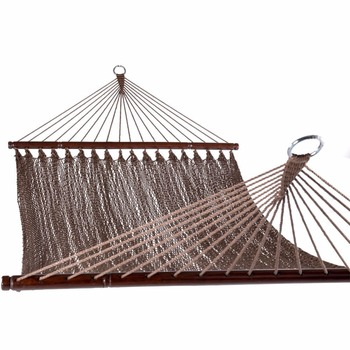 Caribbean hand woven hammock with round spreader bar
