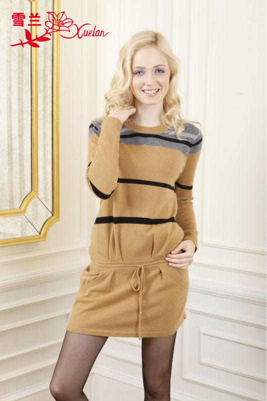 L-056 2016 fashionable leisure striped pullover cashmere sweater dress for ladies