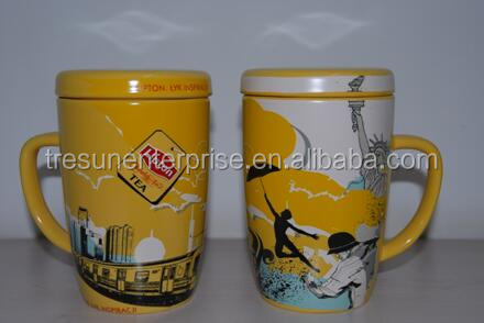Hot selling Lipton mug with lid ceramic mug with lid