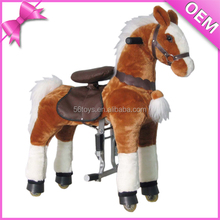 CE approved fairground coin operated plush rocking toy horse on wheels/ride on toys